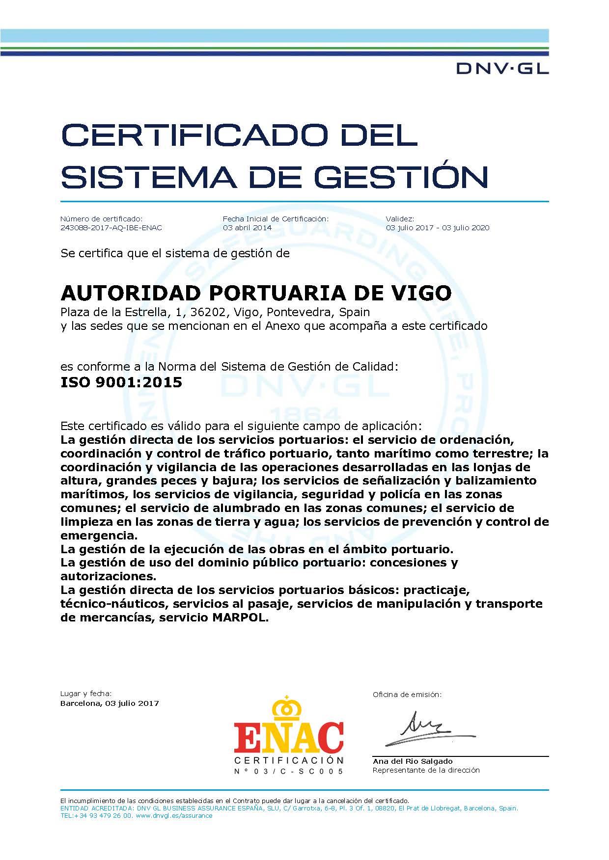 Descargar Certificado calidad 2017